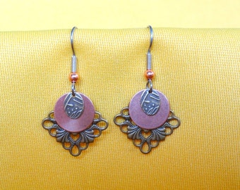 Gold and copper snowflake earrings (Style #353C)