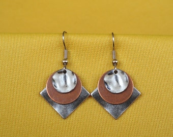 Silver and copper sandwich cookie earrings (Style #278C)
