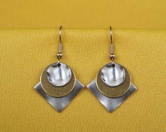 Silver and gold sandwich cookie earrings (Style #278G)