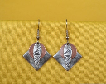Queen of Sheba silver and copper earrings (Style #238C)