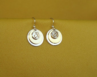 Swirly Girly silver and gold earrings