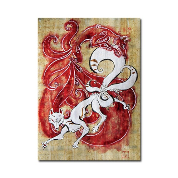Two Japanese Kitsune Original Painting on handmade natural papyrus scroll