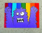ACEO Rainbow Purple Monster Original Hand painted Trading card