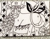 Paint by numbers ACEO bull Inspired from a vintage fabric print ACEO trading Card Original