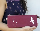 eco friendly pelican clutch in burgundy