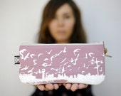 eco friendly handprinted New Jersey City birds pouch in dusty pink