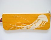 eco friendly jellyfish pencil case in mustard
