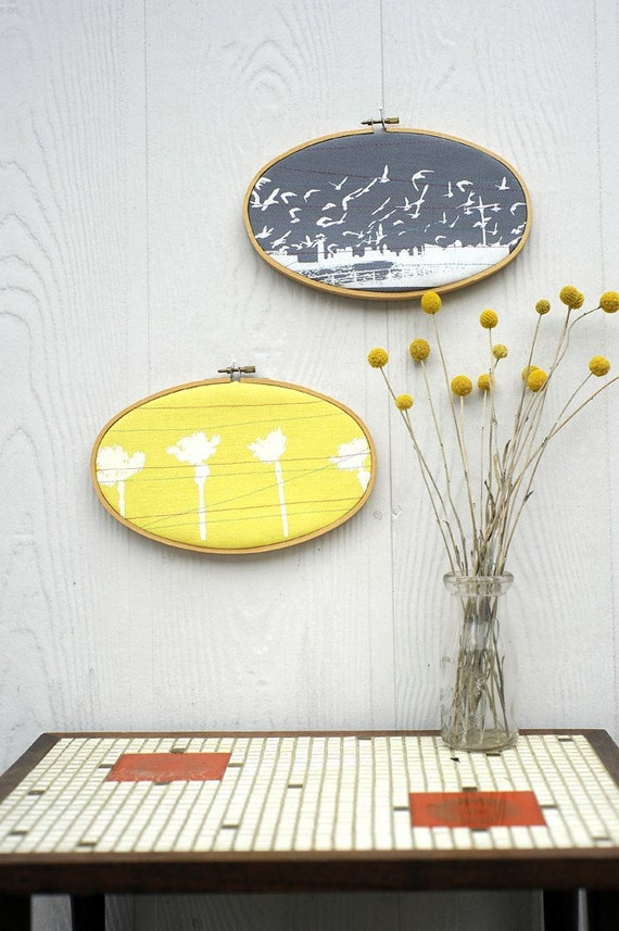 upcycled palmtree wall hanging in sunshine yellow
