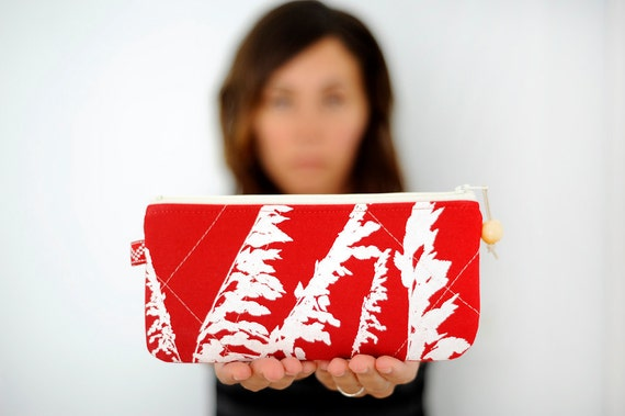 eco-friendly handprinted sea oats pouch in upcycled red