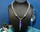 Sterling Silver Knit Wire Tube Necklace with Dichroic Beads and Lamp Worked Bead Pendant
