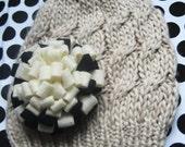 Adult cable knit cozy hat with interchangable felt pom pom flower clip