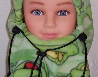 Children's Green Frog Print Balaclava Hat