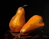 Original still life acrylic painting - Two Golden Pears