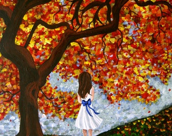 Girl and tree print - Autumn Leaves