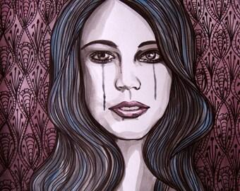 Original portrait illustration - Sometimes I Cry