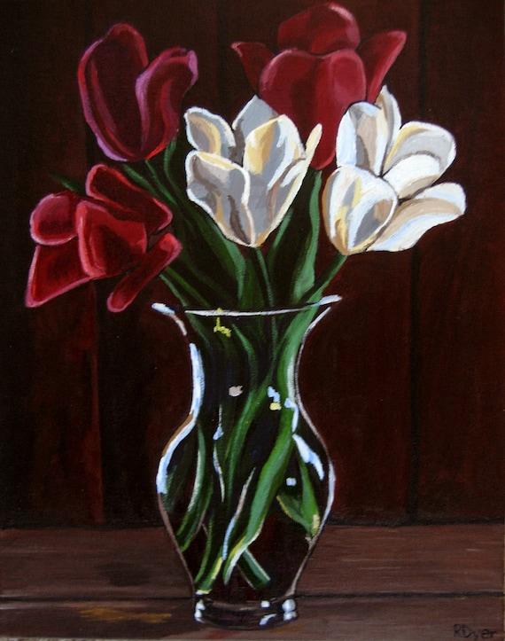 Items similar to Original Acrylic floral Painting - Tulips ...
