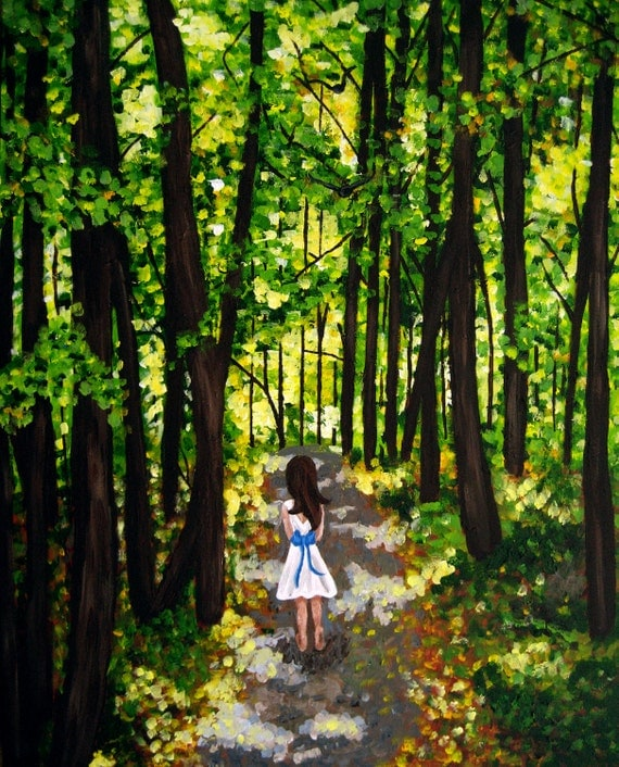 Paintings of Forest Paths Forest Girl Painting Down