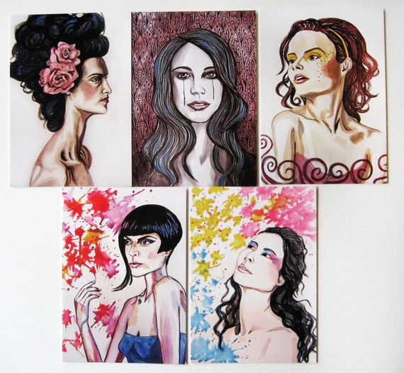 Portrait Postcards - set of 5