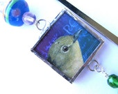 Soldered Art Charm Bookmark - Two Sided: Yellow Bird on Postcards