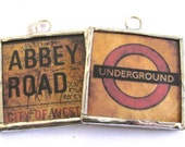 London Underground Signs Abbey Road Glass Art Pendant Necklace - Two Sided - Grunge London