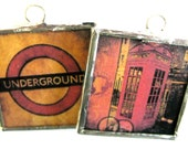 Glass Art Pendant Necklace - London Underground Sign and London Phone Box - Two Sided - Hand Soldered