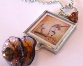 Soldered Glass Art Pendant - Mythical Creatures Unicorn and Gryphon - Two Sided Glass Art Charm with Beads