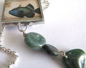 Soldered Glass Art Mini Charm with Beads - Two Sided: Whimiscal Fishes - Blue Pisces