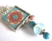Glass Art Mini Pendant with Beads - Pink Kaleidoscope - Pink and Aqua - Two Sided Hand Soldered Glass Charm
