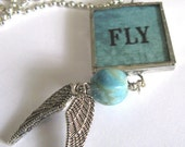 Glass Art Mini Pendant with Beads - Fly in Aqua - Two Sided Hand Soldered Glass Charm
