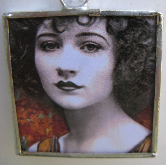 Two Sided Soldered Glass Pendant Obstinate Headstrong Girl No. 1