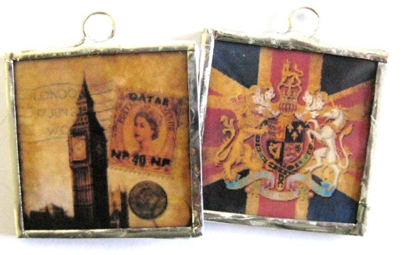 Glass Art Pendant Necklace - London Collage in Grunge - Two Sided British Icons