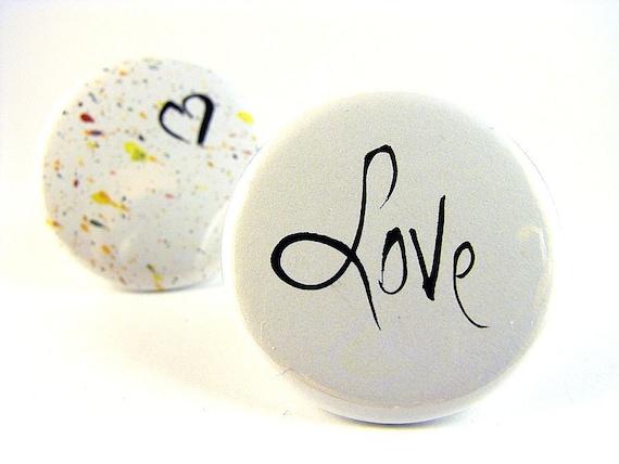Pinback buttons, badges - Love is Simple (set of 2), Original Design, OOAK