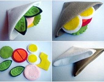 Handmade - Felt Food Sandwich Set - Children's play food