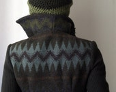 Wool Coat/Jacket in Olive Green/Brown- Soft and Handmade-Seaweed and Algae by NervousWardrobe on Etsy