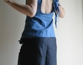 Blue Linen Top by NervousWardrobe on Etsy