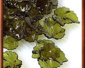 30pcs of Acrylic Leaf Beads, Icy Olive Green