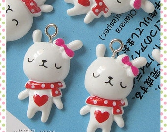 5pcs of Cutie Bunny Lucite Charms