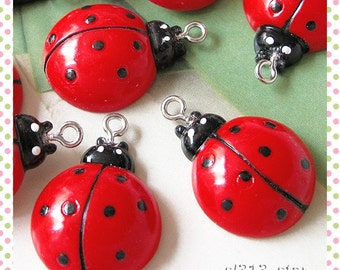4pcs of Ladybug Resin Charms