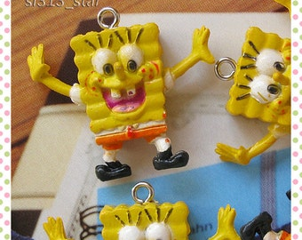 4pcs of Kawaii SPONGEBOB Plastic Charms