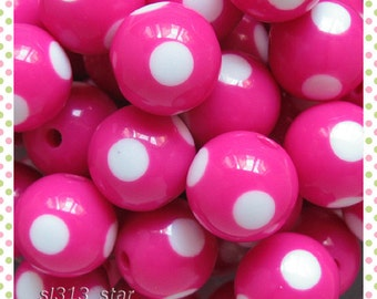 6pcs of Lucite 15mm Round Beads, Fuchsia With White Polka Dots
