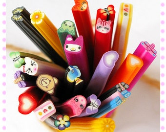 10pcs of Polymer Clay Canes, Mixed A
