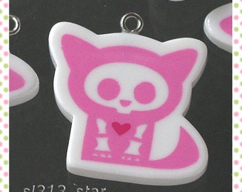4pcs of Gothic Cat Lucite Charms, Lilac-Pink
