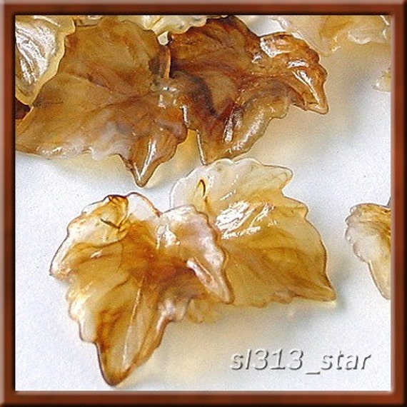 30pcs of Acrylic Leaf Beads, Marble Brown