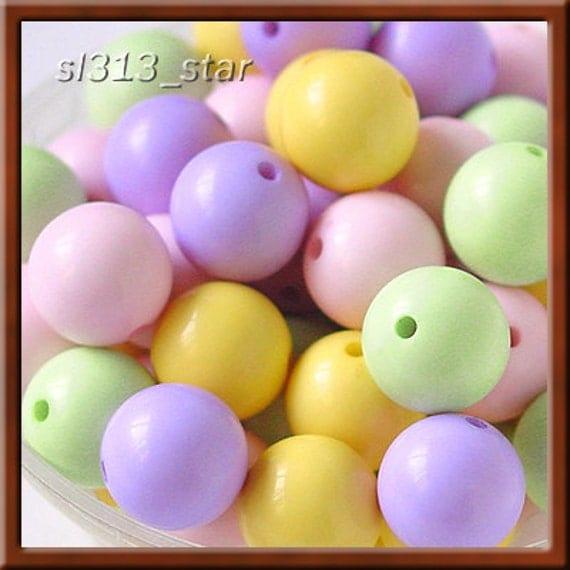 12pcs of Acrylic 14mm Bubble Gum Beads, Mix Pastel Colors