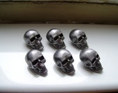 SKULL PEWTER BUTTONS -  antique silver