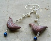 Birds Branch Earrings - Polymer Clay Sterling Wire Wrapped Freshwater Pearls