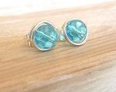 Marine Blue Stud Earrings, Sterling Post Earrings, Wire Wrap Earrings, Faceted Glass Studs, Ocean Blue Posts, Handmade by Contempo Jewelry