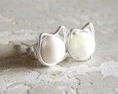 Kitty Cat Stud Earrings, Sterling Post Earrings, Wire Wrap Earrings, Pet Lover, White Cat Studs, Cat Lover, Cat Jewelry, Hypoallergenic