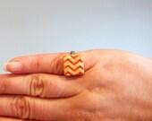 Orange Zig Zag Ring - Tangerine Chevron - for Kids or Little Hands