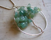 Tree Pendant Necklace - Wire Wrapped Sterling Silver - Aventurine Chip Stone